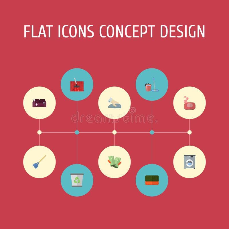 Guantelete plano de los iconos, lavandería, espuma y otros elementos del vector El sistema de limpiar símbolos planos de los icon libre illustration