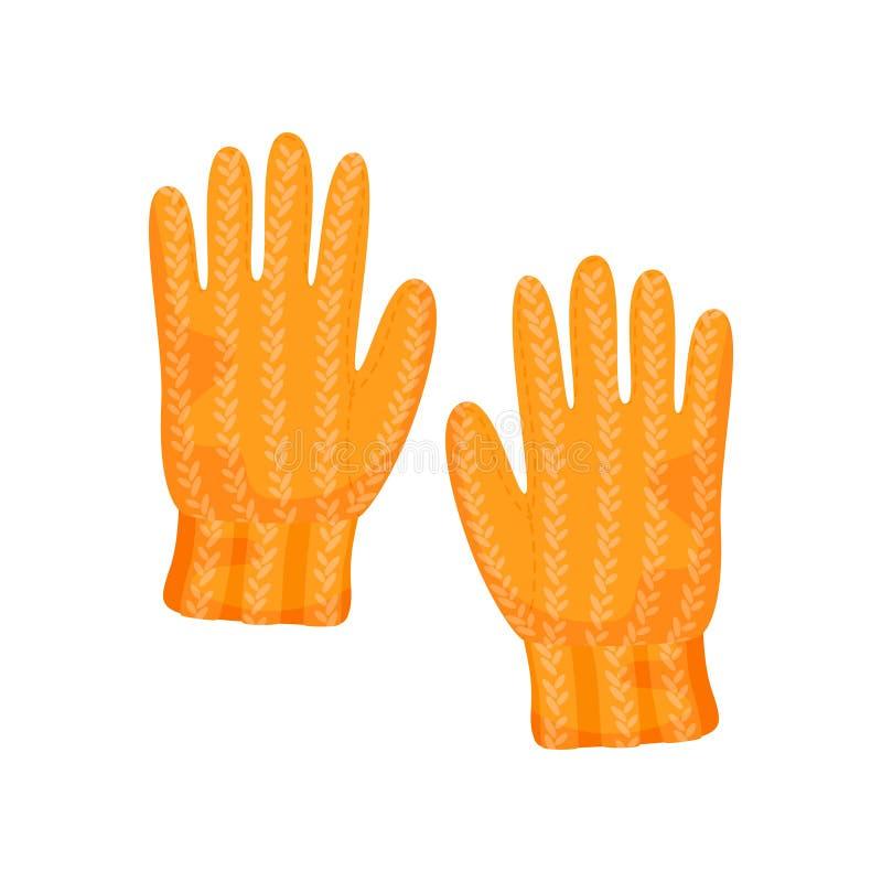 Guantes anaranjados hechos punto en un fondo blanco Ilustraci?n del vector stock de ilustración