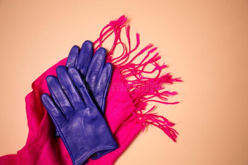 Guantes azules en una bufanda rosada fotos de archivo