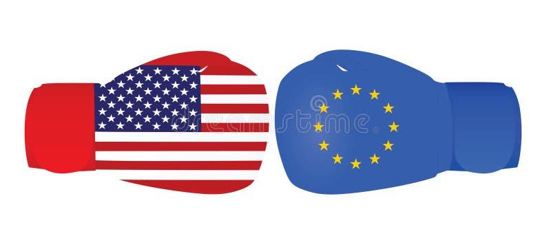 Guantes de boxeo con las banderas de los E.E.U.U. y de la UE Guerra comercial stock de ilustración