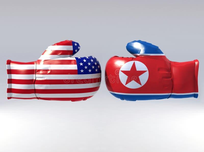 Guantes de boxeo con los E.E.U.U. y la bandera de Corea del Norte  ilustración del vector