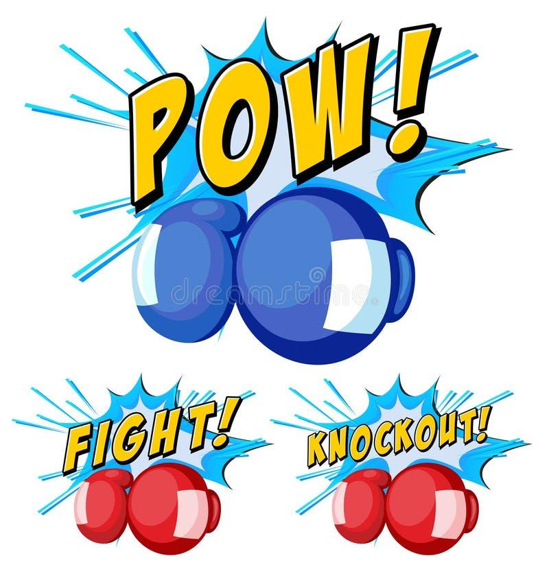 Guantes de boxeo con tres expresiones de la palabra stock de ilustración