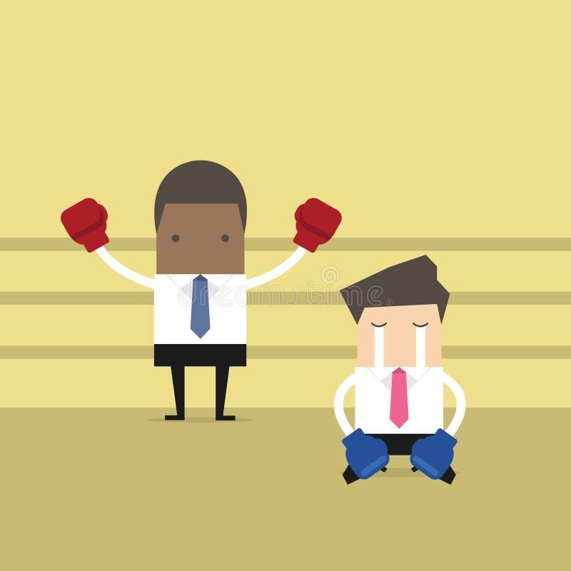Guantes de boxeo del hombre de negocios que llevan africano que se colocan en ring de boxeo como ganador y genuflexión derrotada  stock de ilustración