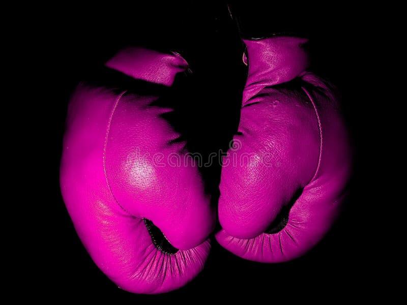 Guantes de boxeo púrpuras de cuero viejos que cuelgan en la oscuridad fotos de archivo