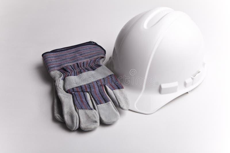 Guantes de cuero del sombrero duro imagen de archivo libre de regalías