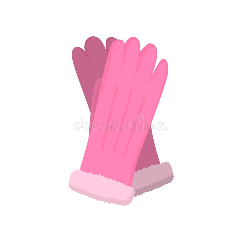 Guantes de cuero rosados del invierno de la moda, para la señora atractiva ilustración del vector