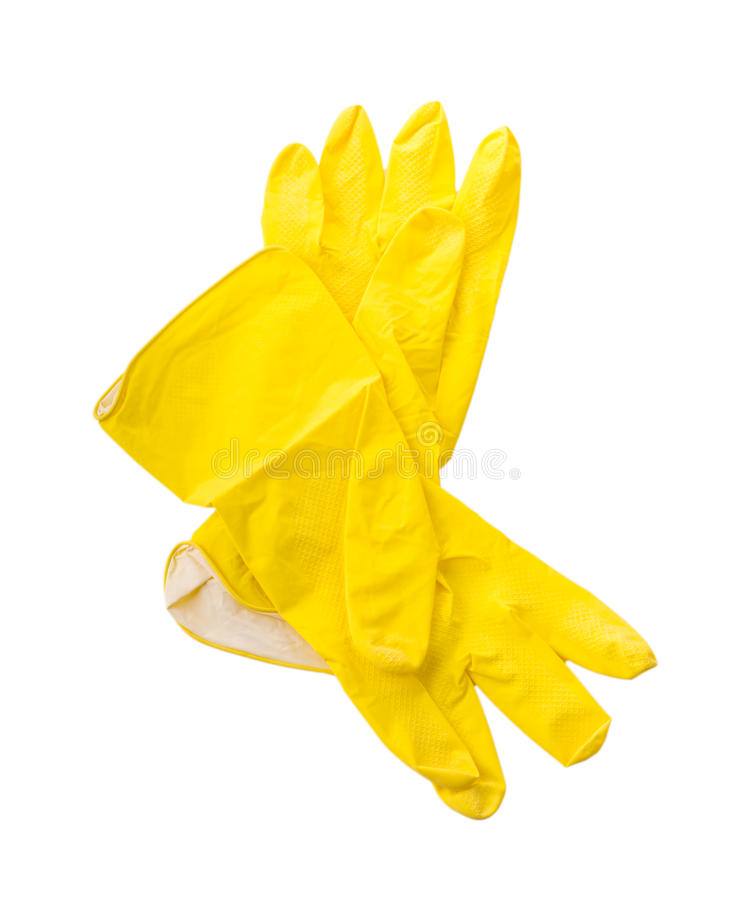 Guantes de goma protectores del hogar amarillo fotografía de archivo
