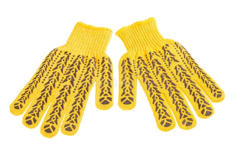 Guantes protectores amarillos fotografía de archivo
