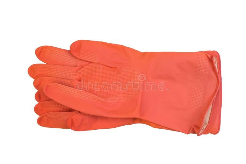 Guantes protectores anaranjados del látex aislados en el fondo blanco guantes protectores de la mano de la capa imagenes de archivo