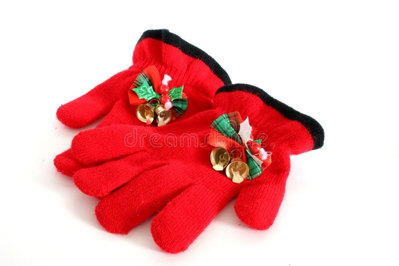 Guantes rojos de la Navidad imagen de archivo