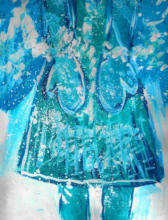 Guanti blu con i fiocchi di neve, disegno del bambino illustrazione vettoriale