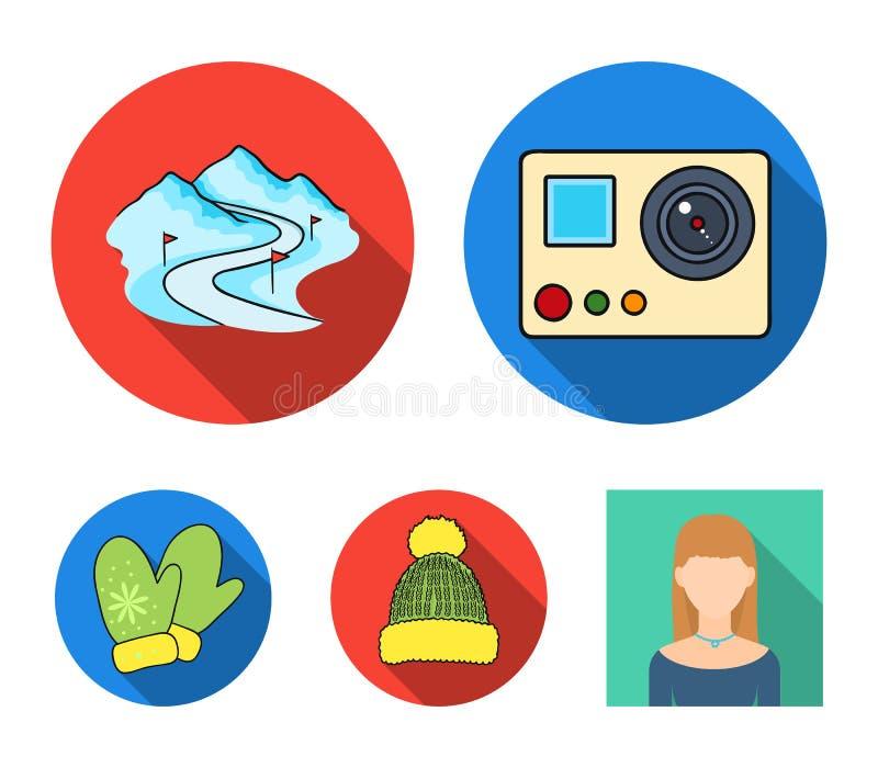 Guanti, cappello caldo, pista dello sci, macchina fotografica di moto Le icone stabilite della raccolta della stazione sciistica  illustrazione di stock