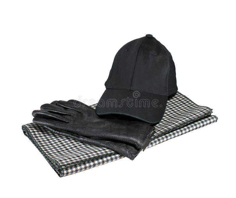 Guanti, cappuccio e sciarpa fotografia stock