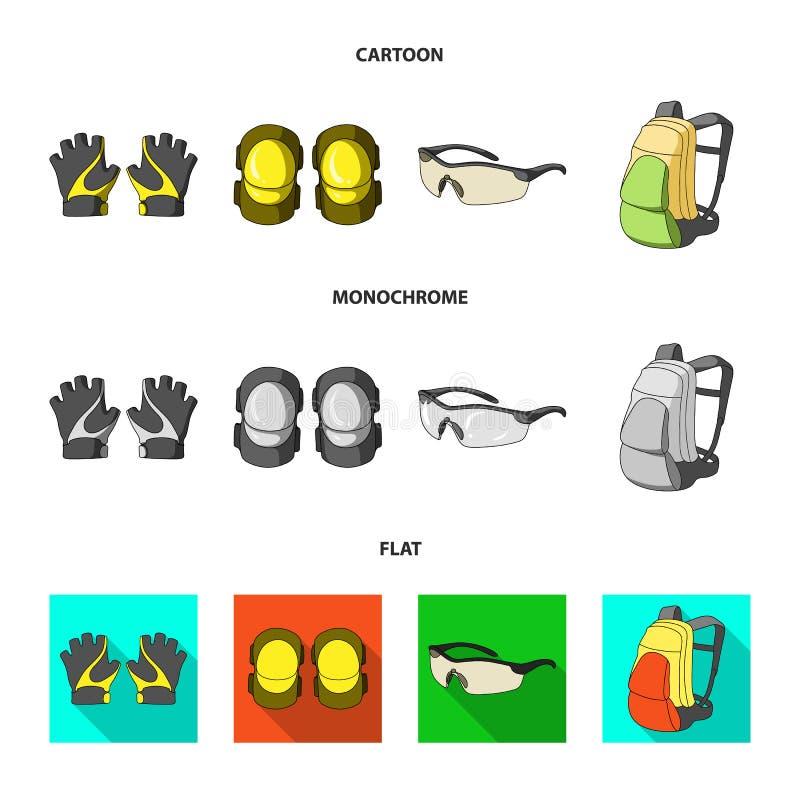 Guanti, cuscinetti di gomito, occhiali di protezione, zaino del ciclista Icone stabilite della raccolta dell'attrezzatura del cic illustrazione di stock