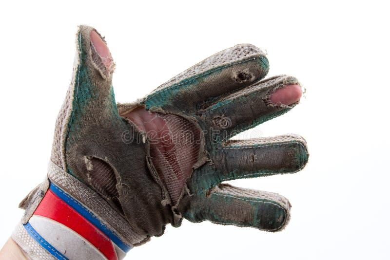 Guanti degli abiti sportivi e della partita di football americano del portiere della palla, classico immagine stock