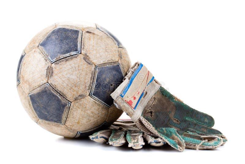 Guanti degli abiti sportivi e della partita di football americano del portiere della palla, custode immagine stock libera da diritti
