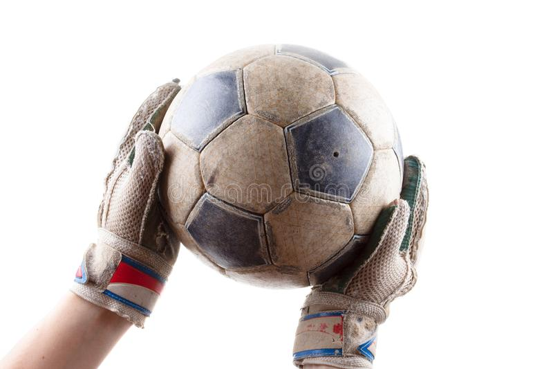 Guanti degli abiti sportivi e della partita di football americano del portiere della palla, scopo di cuoio fotografia stock
