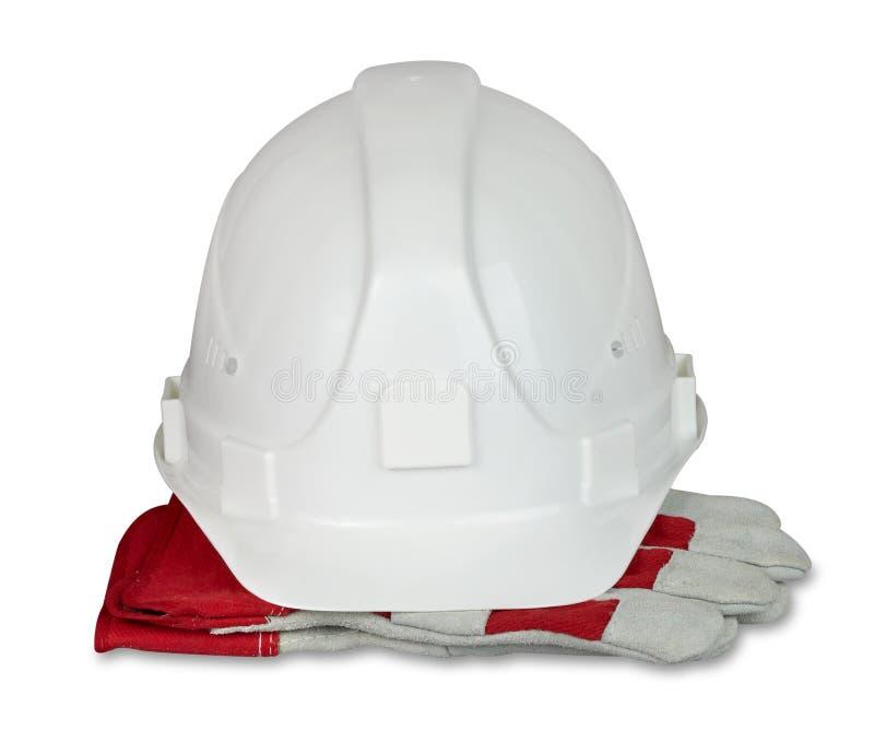 Guanti del lavoro dell'estremità dell'elmetto protettivo. fotografia stock
