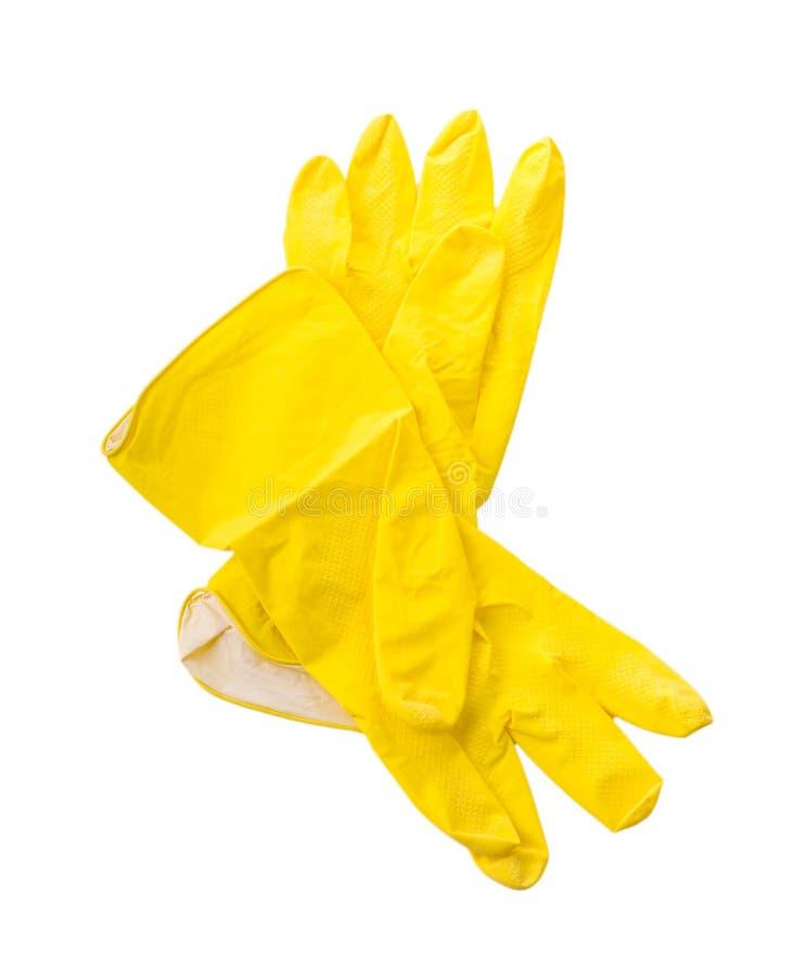 Guanti di gomma protettivi della famiglia gialla fotografia stock