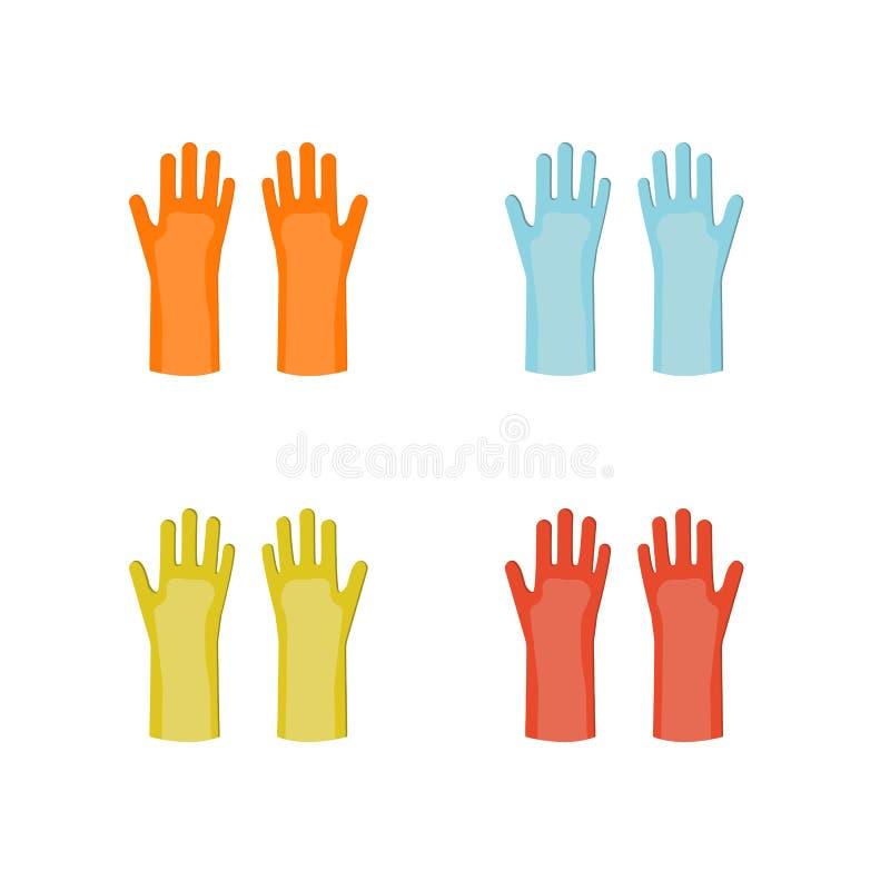 Guanti di gomma di vettore in attrezzatura differente di colori royalty illustrazione gratis