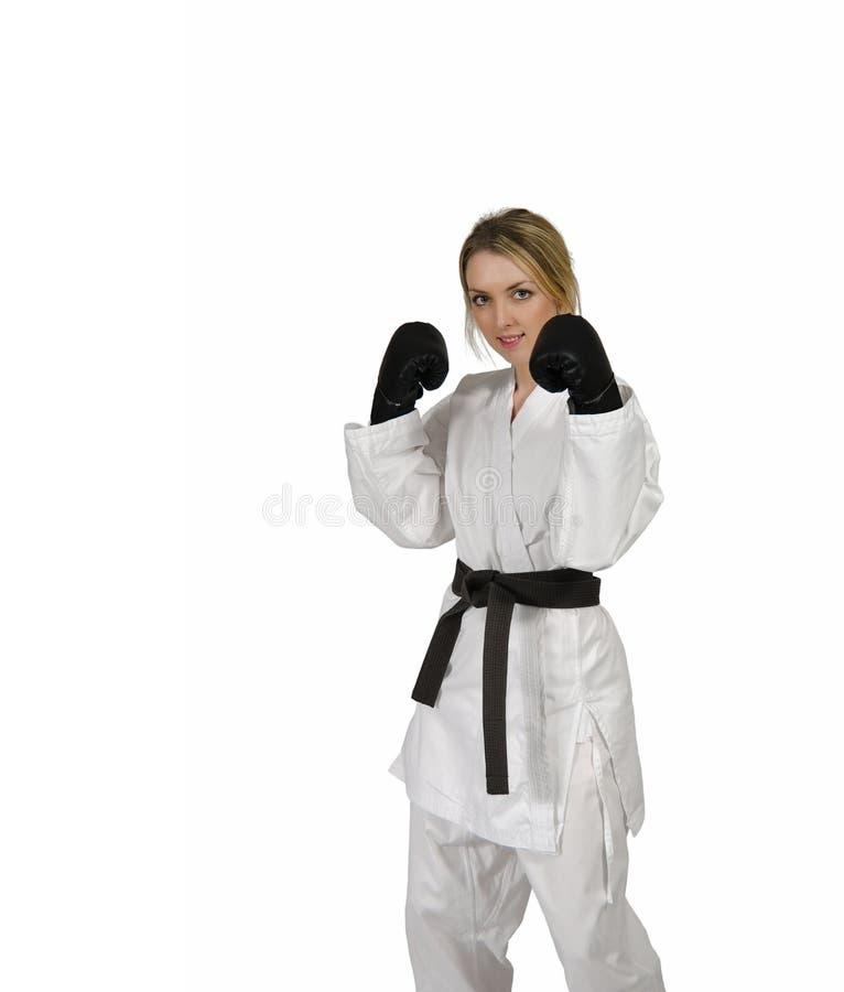 Guanti di inscatolamento da portare della donna di arti marziali immagini stock