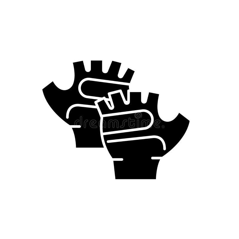 Guanti icona nera, segno di sport di vettore su fondo isolato Simbolo di concetto dei guanti di sport, illustrazione illustrazione di stock
