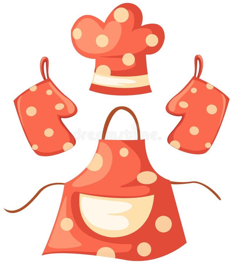Guanto della cucina e cappello del cuoco unico e del grembiule royalty illustrazione gratis