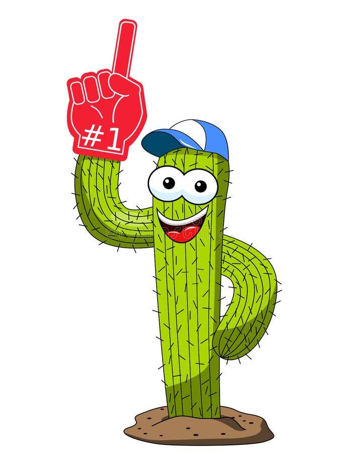 Guanto divertente di numero uno del fan del sostenitore del carattere del fumetto del cactus isolato illustrazione vettoriale