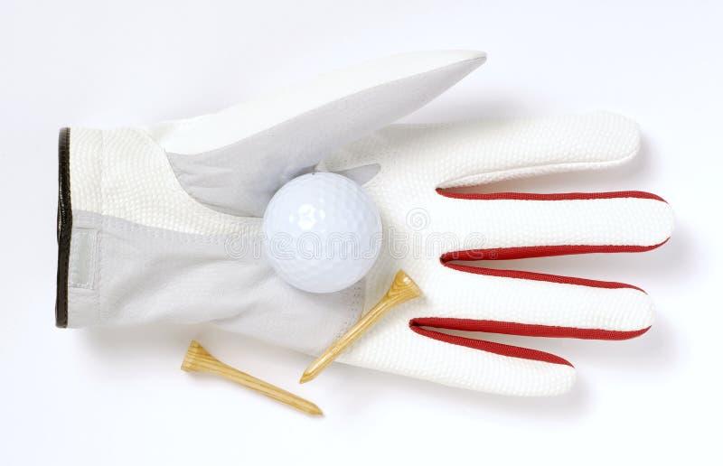 Guanto, sfera di golf e T fotografia stock libera da diritti