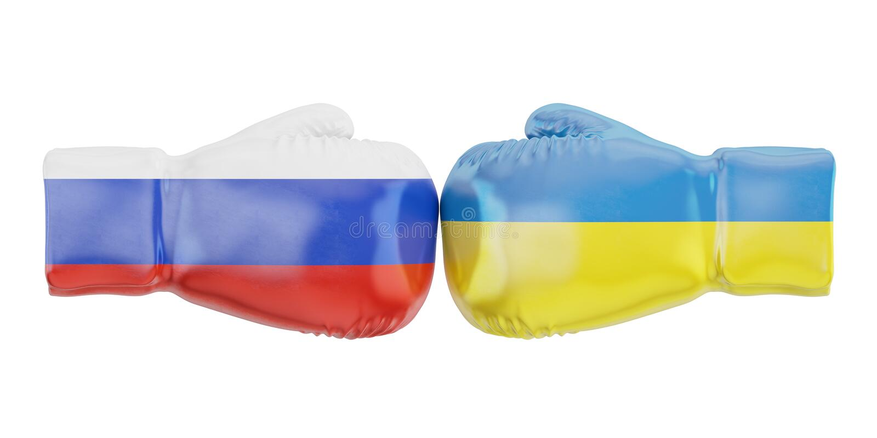 Guantoni da pugile con le bandiere della Russia e dell'Ucraina Governi conflic illustrazione vettoriale