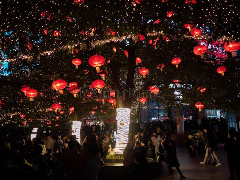 Guanyin Bridge Spring festival chinese lantern 2019 stock photos