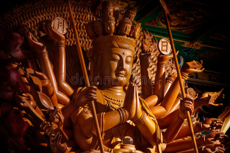 Guanyin buddha statue with thousand hands in Thailand stock photography