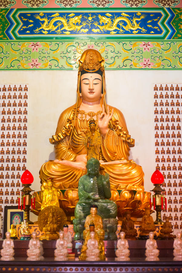 Download Guanyin Goddess Statue And Altar In The Chinese Temple Editorial Stock Image - Image: 98764294