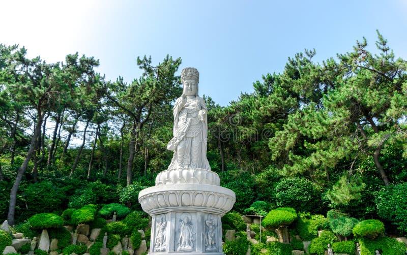 Guanyin or Guan Yin Goddess of Mercy white stone statue at Haedong Yonggungsa Temple. BUSAN, SOUTH KOREA - JULY 20, 2017 : Guanyin or Guan Yin Goddess of Mercy royalty free stock images