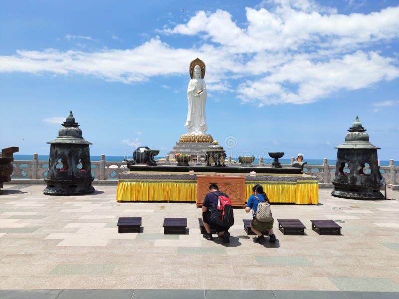 Guanyin Nanshan della dea sull'isola di Hainan in Cina fotografia stock