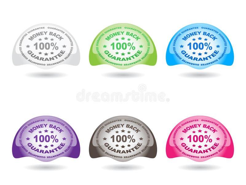 guarantee för 100 knappar stock illustrationer