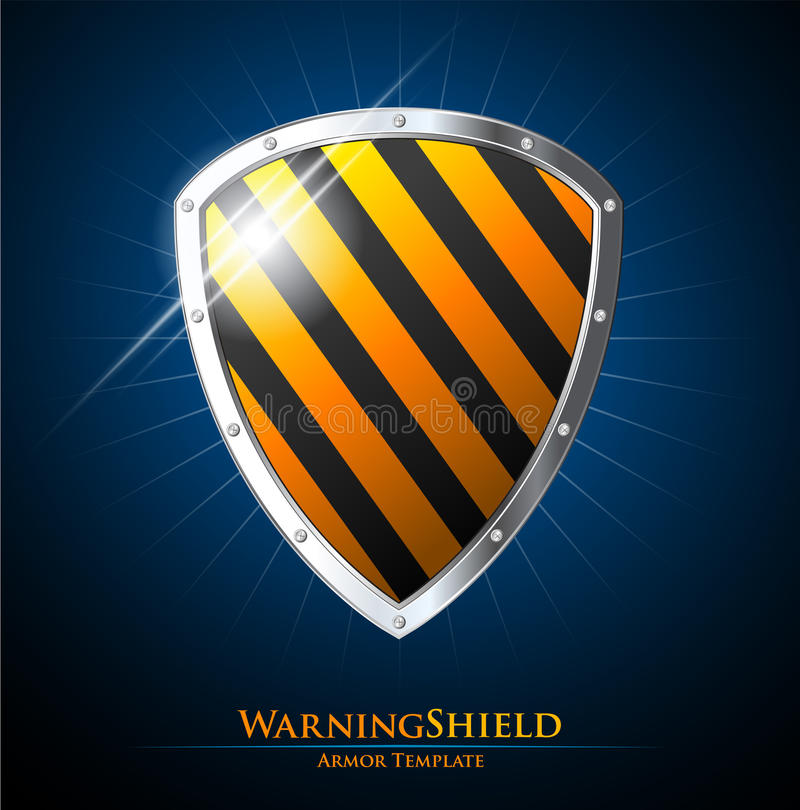 Guarantee label shield on blue background. With black stripes vector illustration