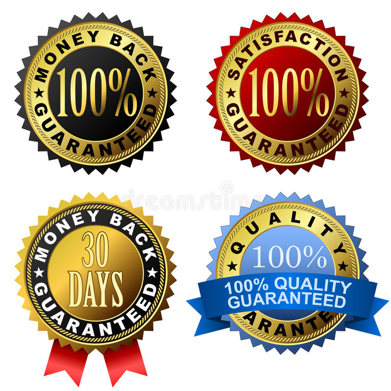 Guarantee labels. Collection of 100% guarantee golden labels
