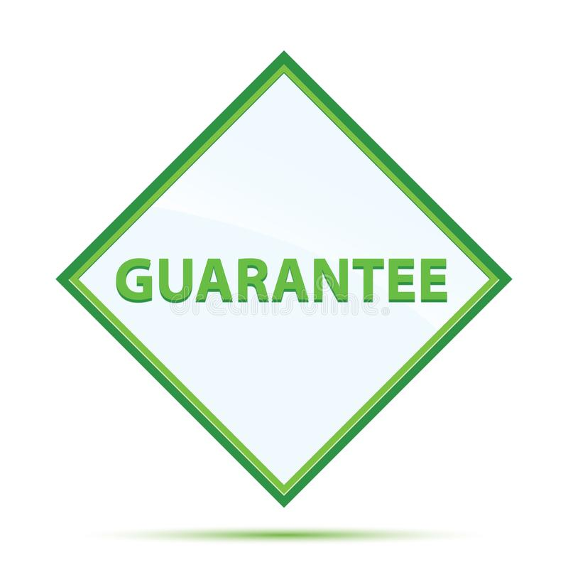 Guarantee modern abstract green diamond button. Guarantee Isolated on modern abstract green diamond button royalty free illustration