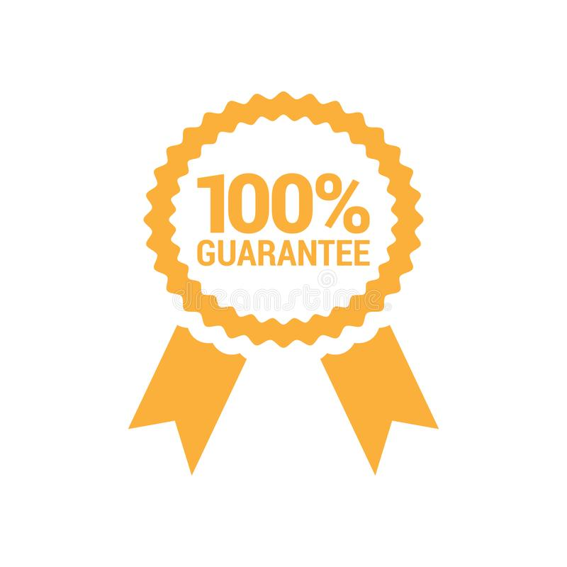100% Guarantee Ribbon Badge Design. Isolated Vector vector illustration