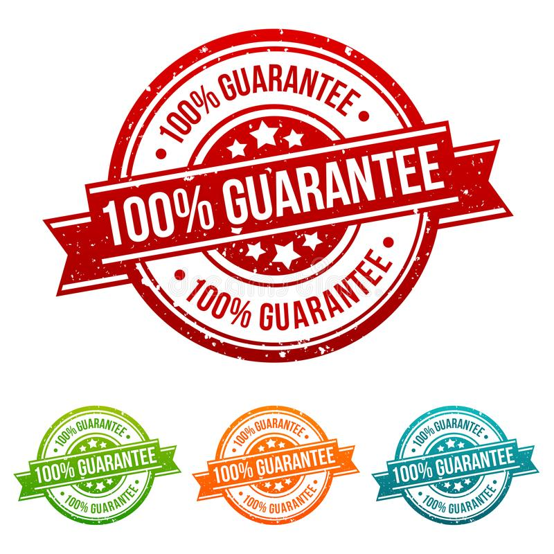 100% Guarantee Stamp Button Banner Badge in different colours. Eps10 Vector vector illustration