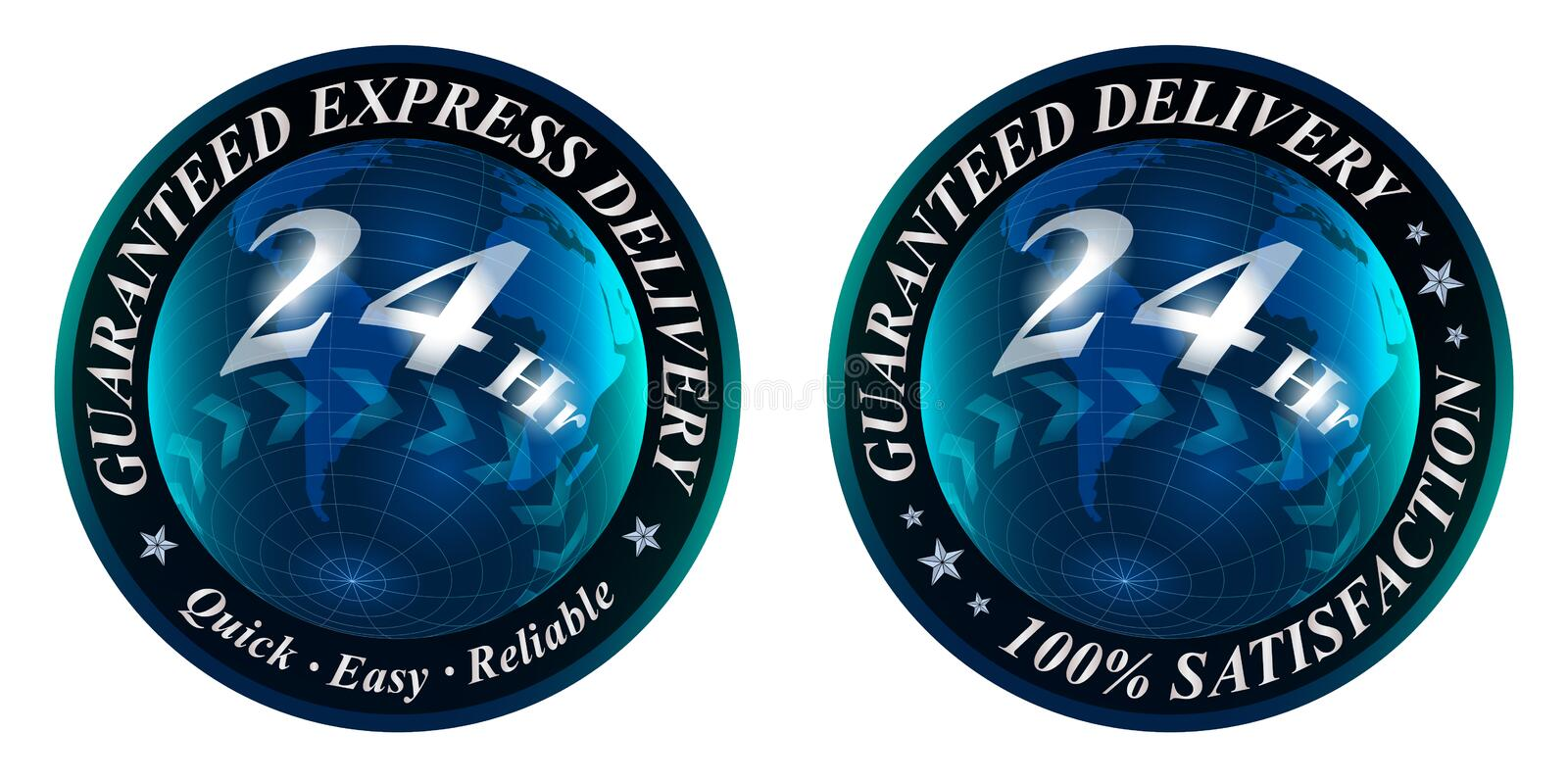Guaranteed Delivery 24 Hours Satisfaction Logo royalty free stock photos