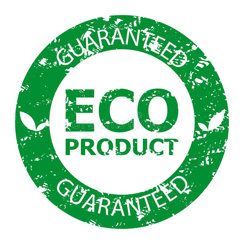 Guaranteed eco product rubber stamp green. Biological healthy food seal watermark, eco stamp rubber warranty, vector illustration stock illustration