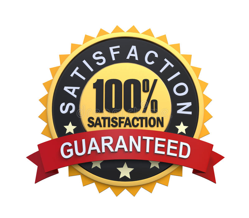 Guaranteed Label with Gold Badge Sign royalty free illustration