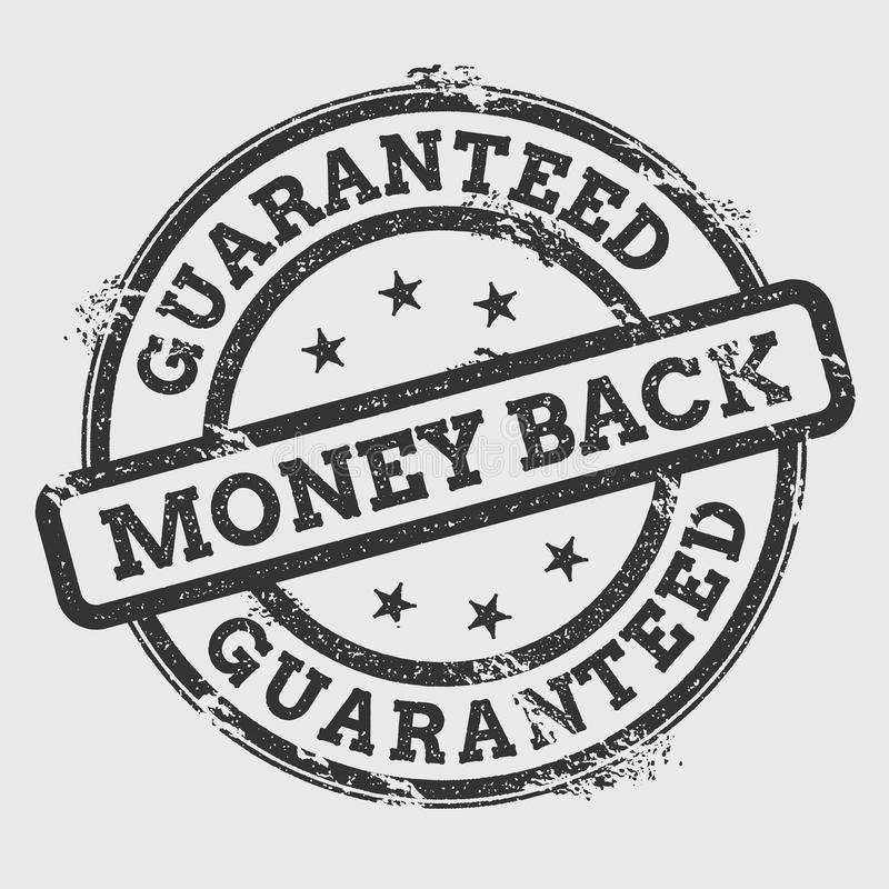 Guaranteed money back rubber stamp isolated on. Guaranteed money back rubber stamp isolated on white background. Grunge round seal with text, ink texture and vector illustration