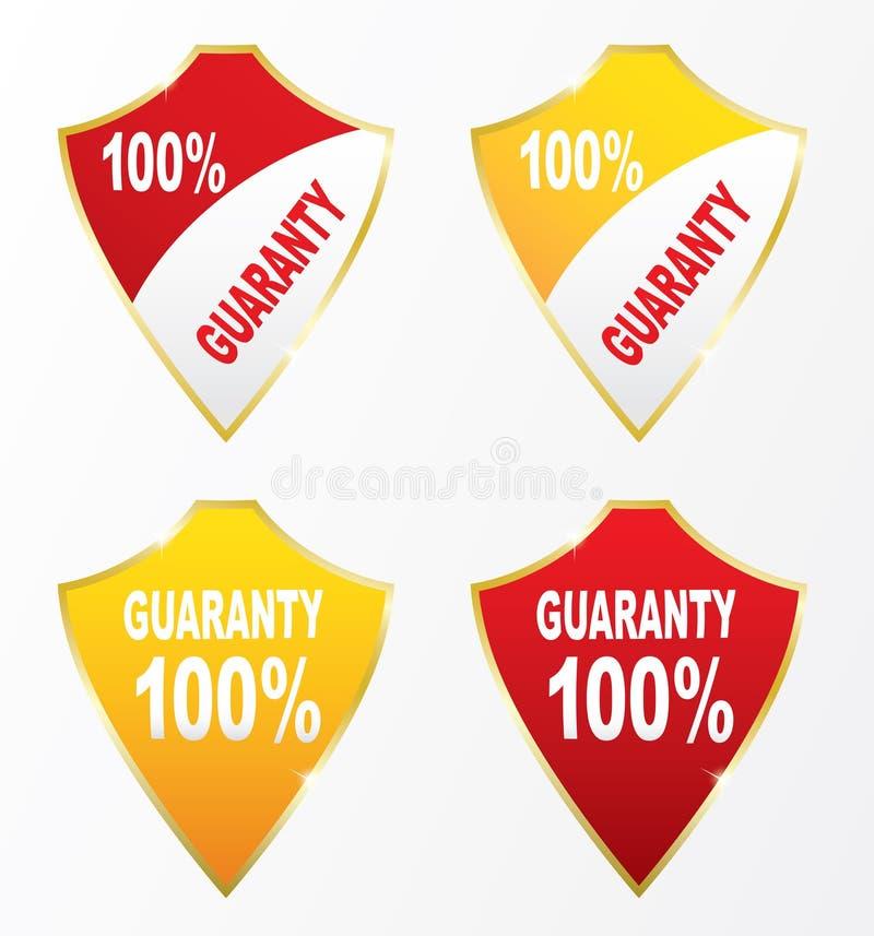 Guaranty för sköldsymboler 100% royaltyfri illustrationer