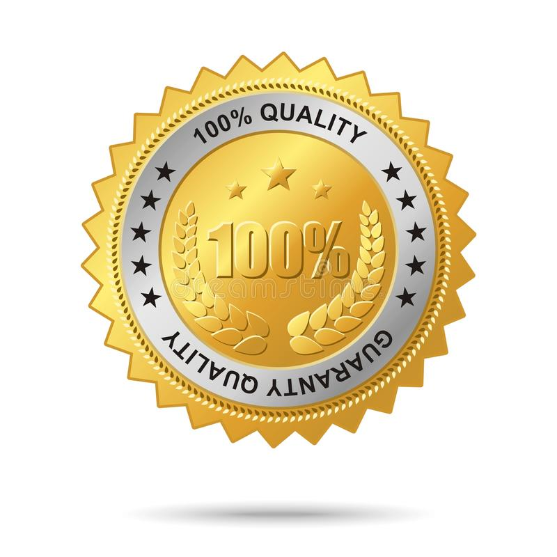Guaranty quality golden label. Vector golden badge named Guaranty quality for your business artwork royalty free illustration