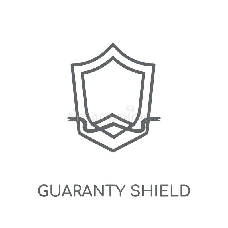 Guaranty Shield linear icon. Modern outline guaranty Shield logo. Concept on white background from e-commerce and payment collection. Suitable for use on web stock illustration