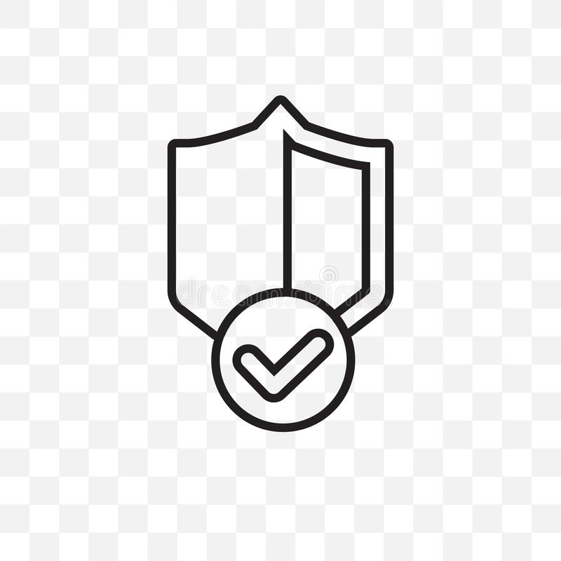 Guaranty Shield vector linear icon isolated on transparent background, guaranty Shield transparency concept can be used for web an. D mobile stock illustration