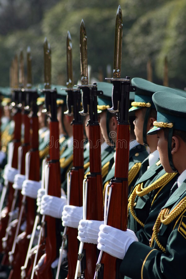 Guard. Soldiers parading with fixed bayonets stock image